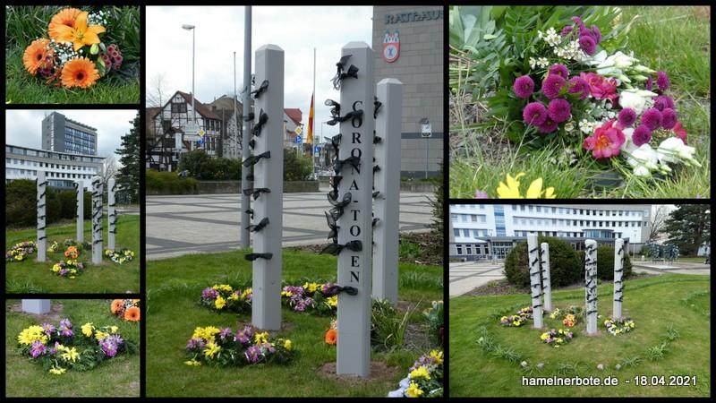 Corona-Gedenken in Hameln – 18-04.2021 – mit zweifelhafter Protestdemonstration am Ende.