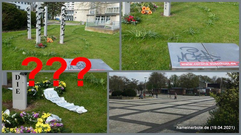 Querdenkerkontakt und Farbschmierereien an der Gedenkstätte der Corona-Opfer am Rathausplatz