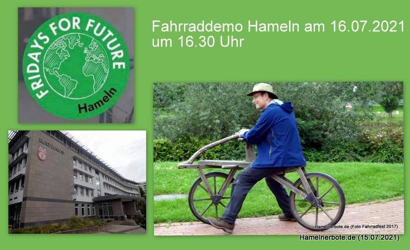 Fahrraddemo in Hameln am 16.07.2021