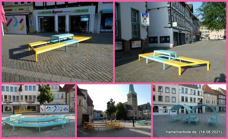 Neue Sitzplätze in Hamelns Fußgängerzone