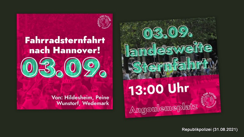 FFF Hameln laden ein zur Fahrradsternfahrt nach Hannover