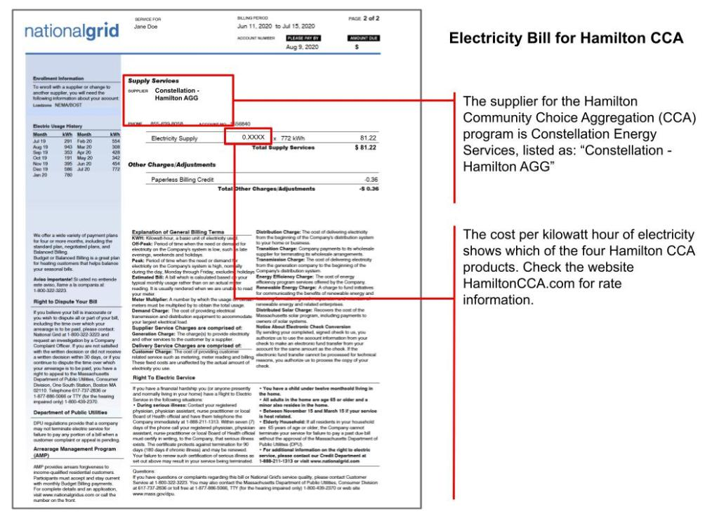 Hamilton CCA National Grid Bill Sample
