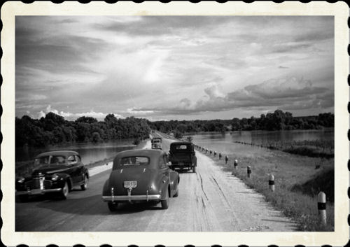 """The Leon River Flooded in 1942 North of Hamilton on the Old US 281 Bridge. JOSEPH THEODORE 'TED"""" CHESLEY'S HAMILTON COUNTY ALBUM.  Shared by Bob Chesley"""