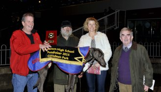 Hubert O'Connor and Niamh O'Donovan making a presentation to Joe Long, Bandon, following Chinook Rumble's win in the Rev. Aidan O'Driscoll 550 at the Hamilton High School 75 th. Anniversary Race Night at Curraheen Park. Included is John O'Donoghue. Picture: Mike English
