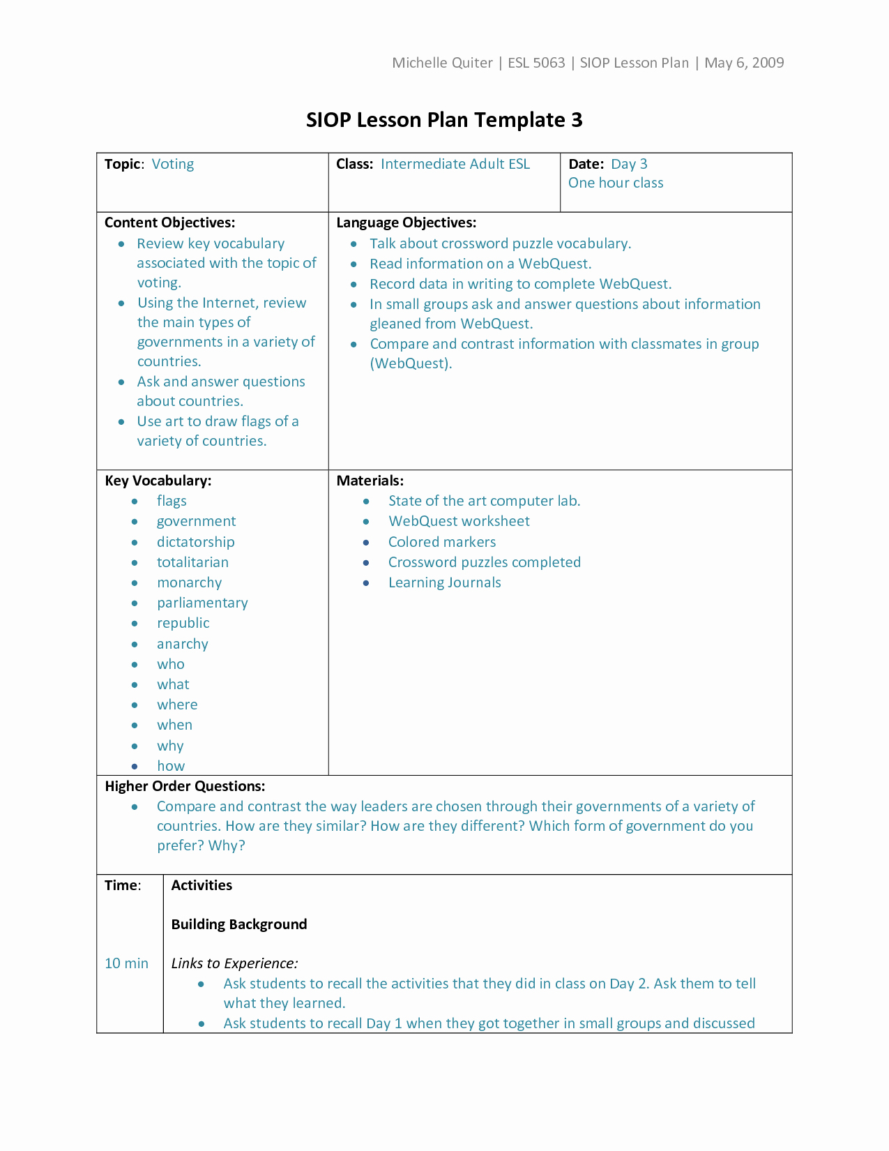 30 2nd Grade Lesson Plan Template