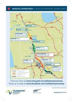 Waikato Expressway NZTA 2015 handout map