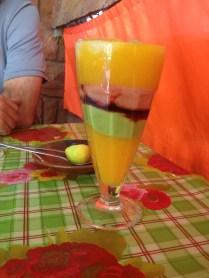 An amazing combination of mango, avocado, papaya, guava and banana