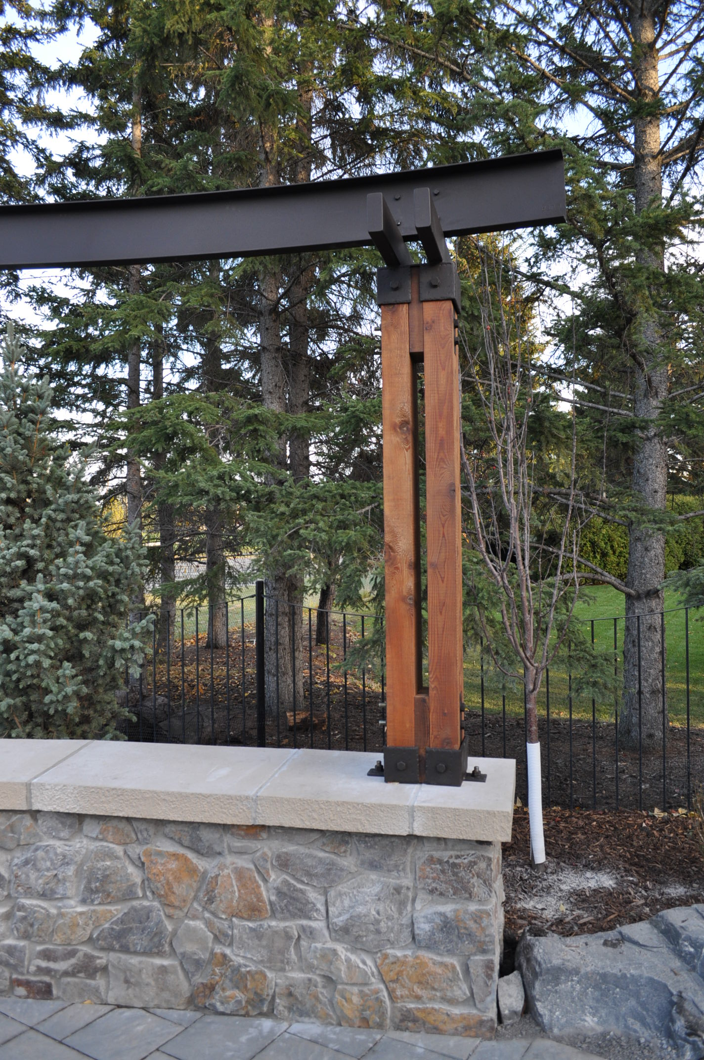 Wrought Iron Pergola Iron And Cedar Pergola