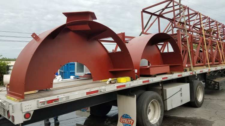 Red steel structures ready to ship