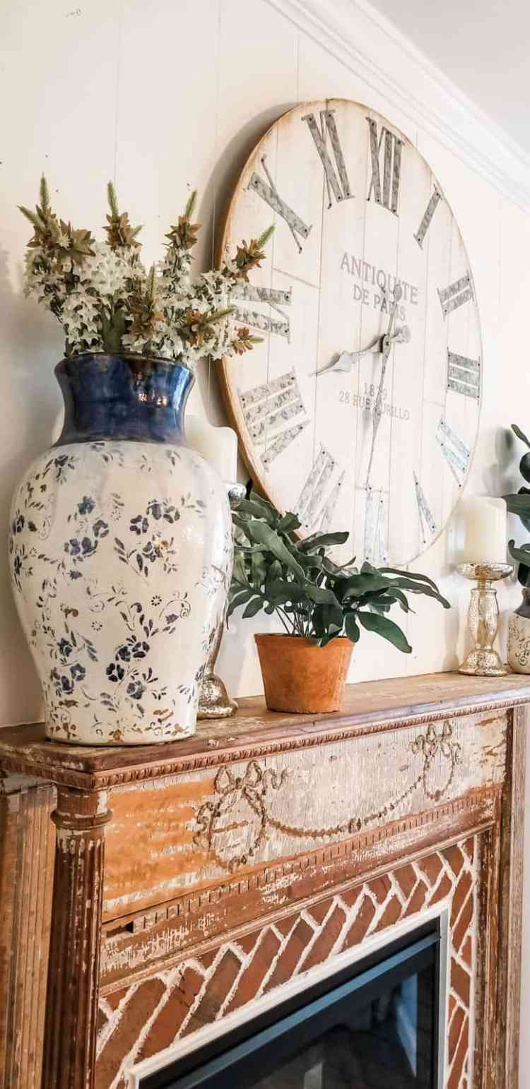 French Country Farmhouse Antique Fireplace Reveal
