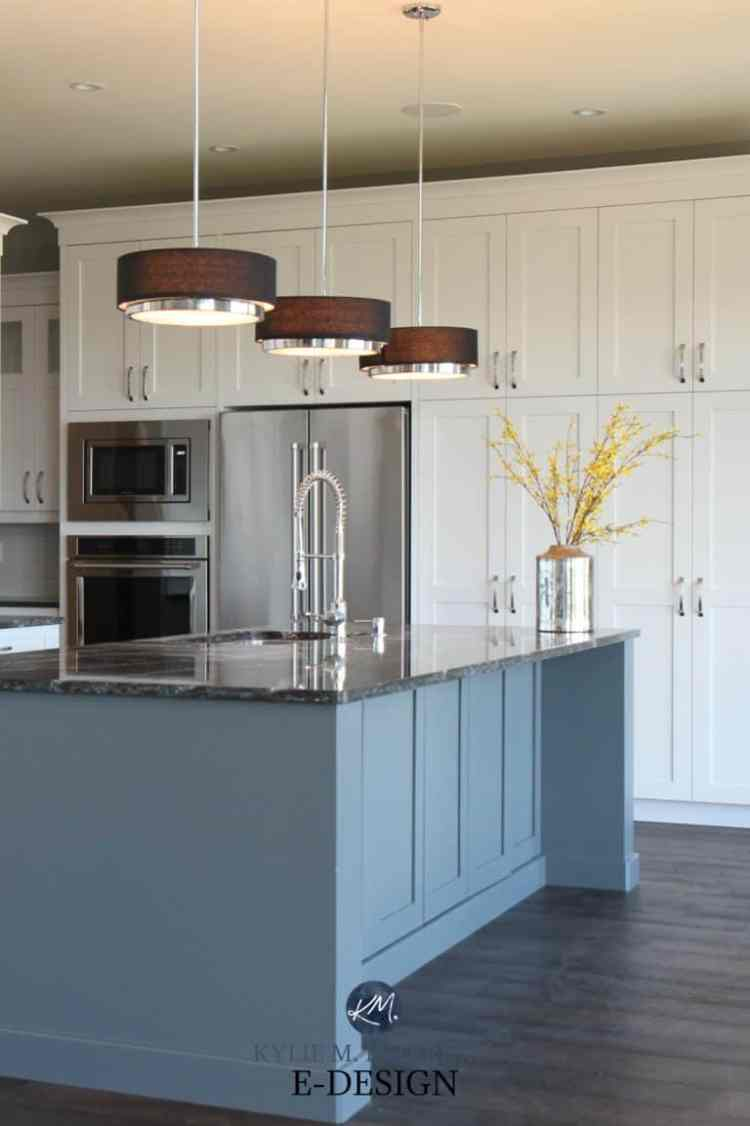 White-kitchen-gray-painted-island.-Cambria-quartz-countertop-black-dark-wood-flooring-pendant-lights-modern.-Kylie-M-Interiors-Edesign.-Pure-White-Sherwin-Williams-cabinets-768x1153