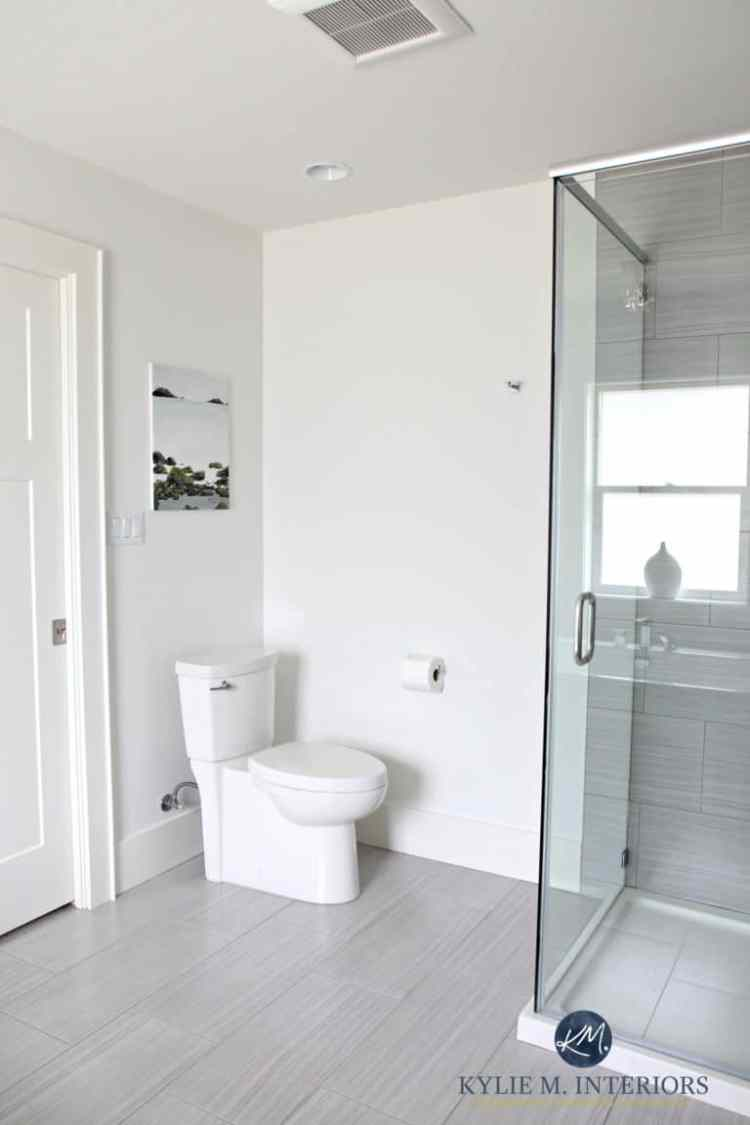 Benjamin-Moore-White-Dove-is-a-great-off-white-paint-color-for-home-staging-and-selling.-Shown-in-small-bathroom-with-Kingsport-Gray-vanity-768x1152