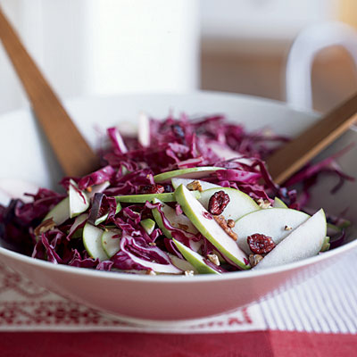 Red cabbage, cranberry & apple slaw
