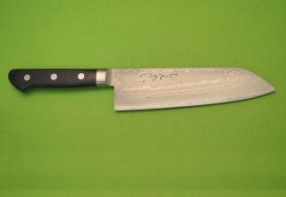 しんかい刃物特製 ダマスカスツバ付三徳包丁 V金10三層鋼製