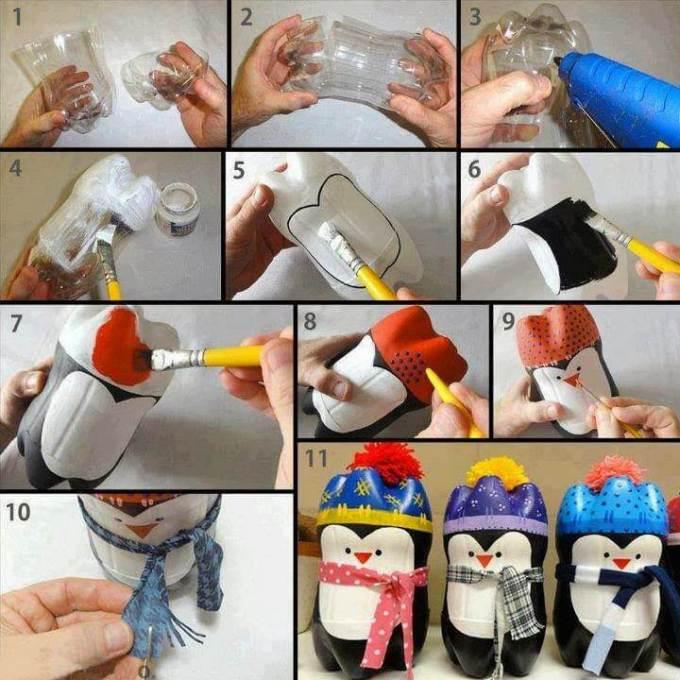 hiasan lucu berbentuk pinguin, kerajinan botol bekas