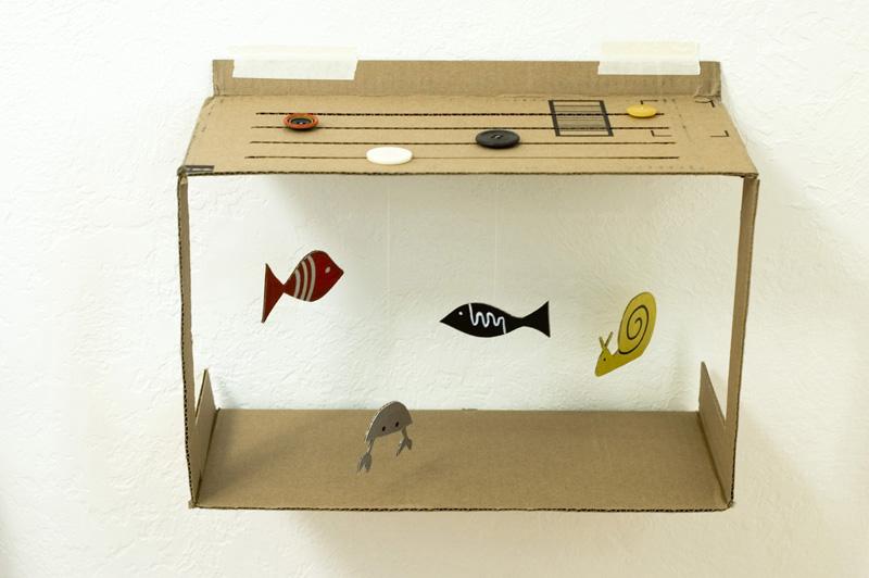 Kerajinan Miniatur Aquarium dari Limbah Kardus. prakarya dari barang bekas 5ee31f4583
