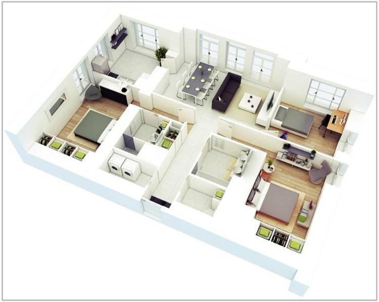 denah rumah 3 kamar