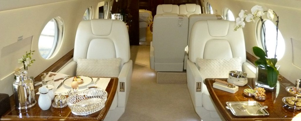 Gulfstream G550 Business Jet Charter Interior with Catering Service
