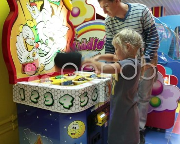 Hit the hamster funny game with father`s help. Coin-operated machine. Stock Footage - hit the hamster funny game with fathers help coin operated machine stock footage