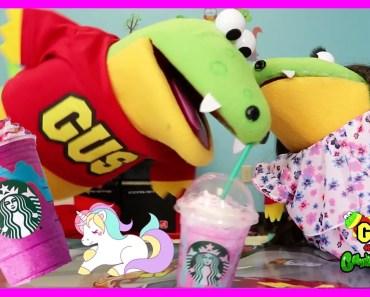 STARBUCKS UNICORN FRAPPE TASTE TEST AND REVIEW with Gus the Gummy Gator - starbucks unicorn frappe taste test and review with gus the gummy gator