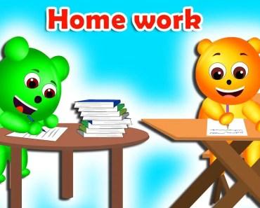 Gummy bear doing home work finger family rhymes for children | School funny - gummy bear doing home work finger family rhymes for children school funny