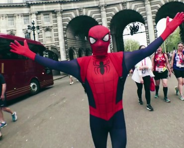 Walking around LONDON dressed as SPIDER-MAN!! **cute/funny reactions** Tom Holland | Avengers - walking around london dressed as spider man cute funny reactions tom holland avengers