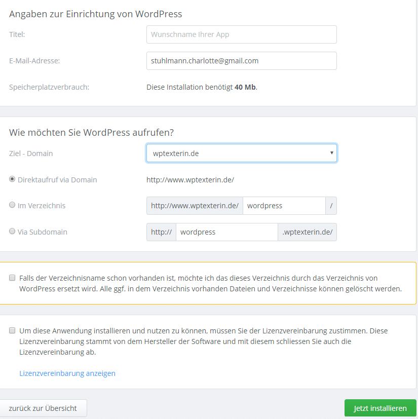 Wordpress installieren bei Checkdomain
