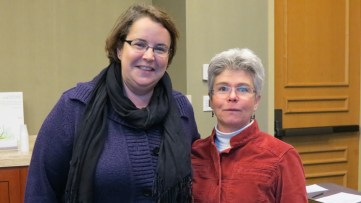 New HAMTE officers for 2014 - 2015, Treasurer Rachael Kenney and President-Elect Sheryl Stump.