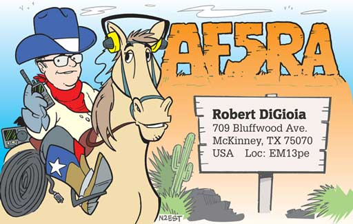 AF5RA ham radio cartoon QSL by N2EST