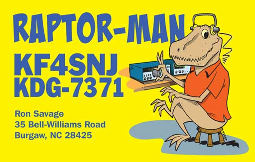 "KF4SNJ ""Raptor-man"" ham radio cartoon QSL by N2EST"