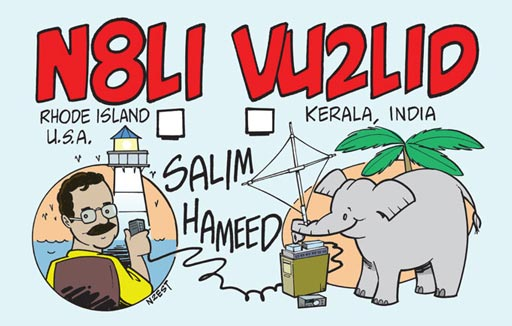 N8LI VU2LID ham radio cartoon QSL by N2EST