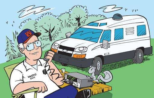 WA4DYD ham radio cartoon QSL by N2EST