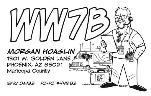 WW7B ham radio cartoon QSL by N2EST