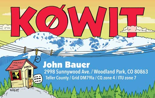 K0WIT cartoon QSL by N2EST