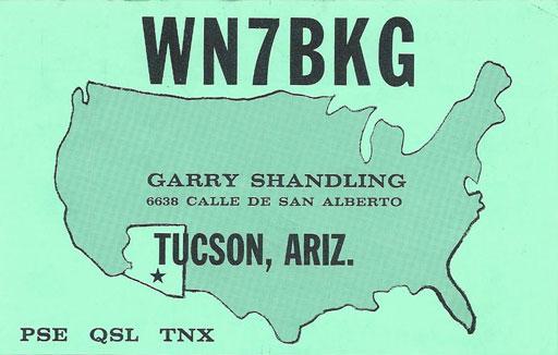 WN7BKG QSL Garry Shandling