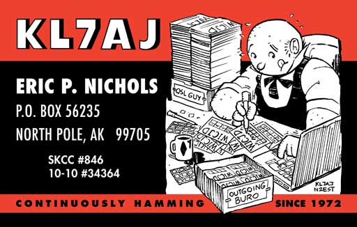 KL7AJ Jeeves cartoon QSL by N2EST