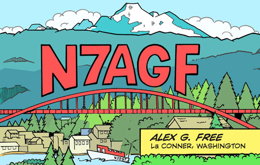 N7AGF cartoon QSL by N2EST