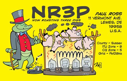 NR3P cartoon QSL by N2EST