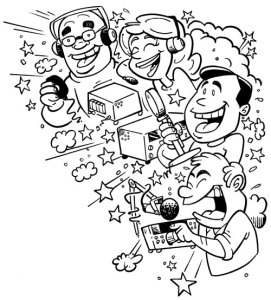 amateur radio pile-up cartoon by N2EST