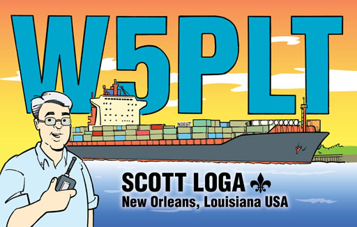 W5PLT ham radio cartoon QSL by N2EST