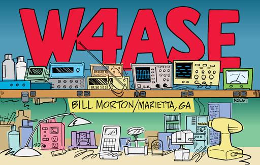 W4ASE ham radio cartoon QSL by N2EST