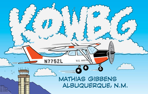 K0WBG ham radio cartoon QSL by N2EST