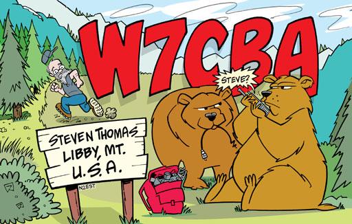 W7CBA ham radio cartoon QSL by N2EST