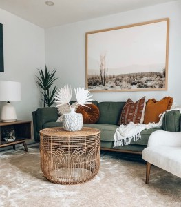 Bohi living room with rust pillows
