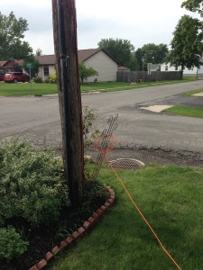 """Here's the cable running from the post,  The technicians who installed it stated """"it's a different group of people that will come and bury this cable"""