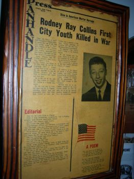 Panhandle press art. on Rodney Collins, first local killed in war, John's rm