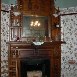 fireplace, dining rm.