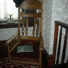 low chair & window, upstairs hallway