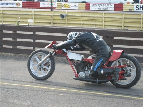John launching his RD400 Yamaha sprinter at the 2006 Bulldog Bash.