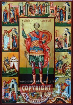 Saint Dimitry and scenes-hand-painted-icon-80x55cm